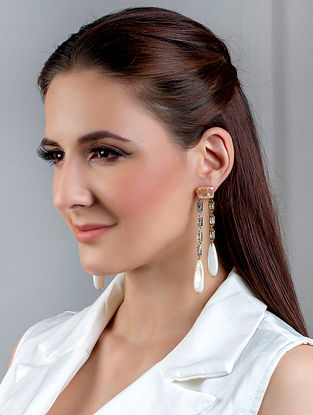 While Dual Tone Handcrafted Earrings With Mother Of Pearls And Zircon