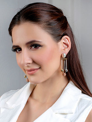 White Gold Tone Handcrafted Earrings With Pearls And Zircon