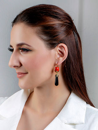 Orange Black Gold Tone Handcrafted Earring With Coral Onyx And Zircon