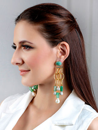 Green Gold Tone Handcrafted Earrings With Pearls Onyx Pearls And Zircon