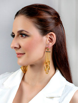 Gold Tone Handcrafted Earrings With Zircon