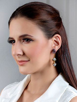Grey Gold Tone Handcrafted Earrings With Pearls And Zircon
