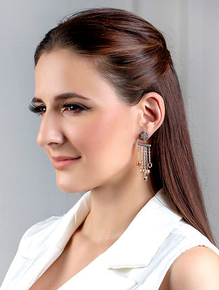Dual Tone Handcrafted Earrings With Zircon