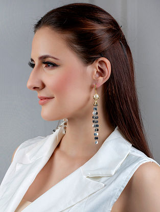 Dual Tone Handcrafted Earrings With Zircon And Pearls