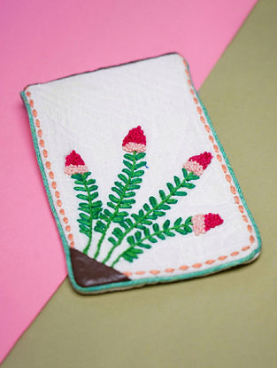 White Green Hand Embroidered Khadi Pouch
