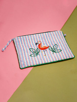 White Blue Hand Embroidered Khadi Pouch