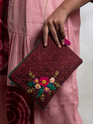 Maroon Hand Embroidered Khadi Pouch