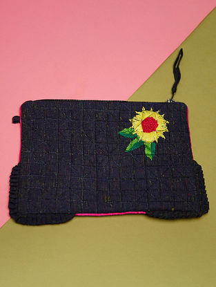 Blue Hand Embroidered Khadi Pouch