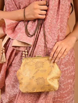 Beige Handcrafted Benarasi Brocade Silk Batuwa Clutch
