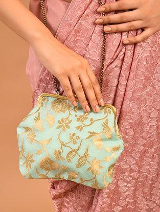 Turquoise Handcrafted Benarasi Brocade Silk Batuwa Clutch