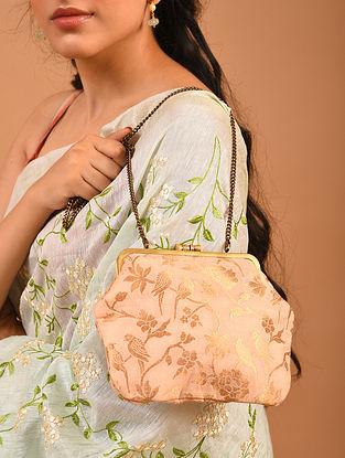 Pink Handcrafted Benarasi Brocade Silk Batuwa Clutch