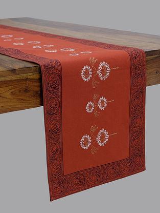 Orange Hand Block Printed Table Runner (L-90in, W-13in)