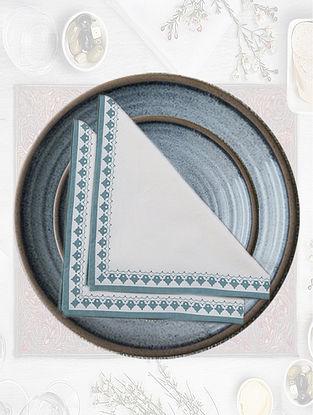 White & Medium Blue Emperor Printed Table Napkin (Set of 4)