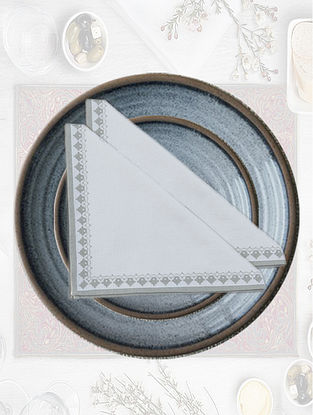 White with Light Grey Emperor Printed Table Napkin (Set of 4)