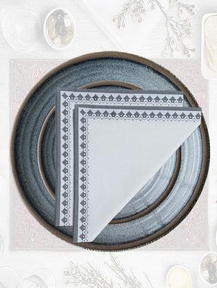 White with Dark Grey Emperor Printed Table Napkin (Set of 4)