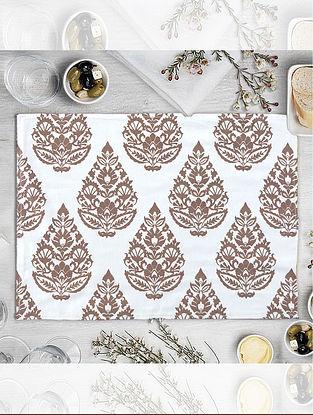 Cream Rajwarah Hand Printed Table Mat (Set of 2) (L-18in, W-12in)