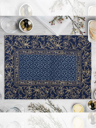 Navy Hand Block Printed Table Mat (L-18.25in, W-12.25in)