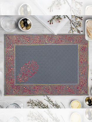 Light Grey Hand Block Printed Table Mat (L-18in, W-12.25in)