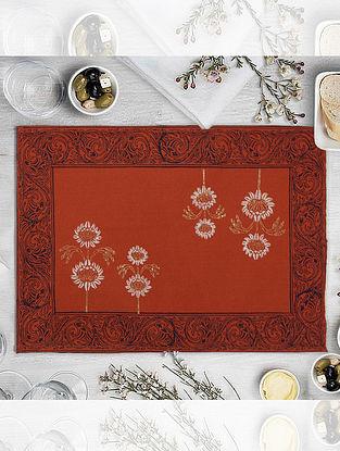 Orange Hand Block Printed Table Mat (L-18.25in, W-12.25in)