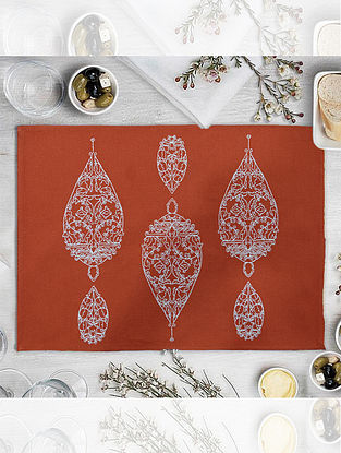 Orange Cotton Embroidered Table Mat (L-18.25in, W-12.25in)
