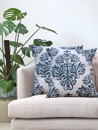 Cream Distress Hand Printed Cotton Cushion Cover (L-16in, W-16in)