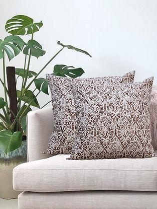 Cream Distress Ornamental Hand Printed Cotton Cushion Cover (L-18in, W-18in)