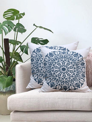 Cream Mandala Hand Printed Cotton Cushion Cover (L-16in, W-16in)