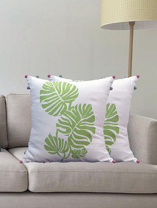 Cream Tropical Hand Printed Cotton Cushion Cover (L-16in, W-16in)