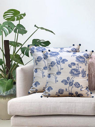 Cream Floral Printed Cushion Cover (L-16in, W-16in)