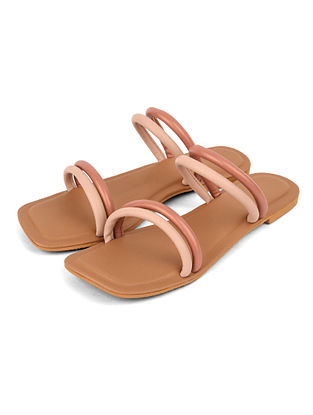 Peach Handcrafted Leather Flats