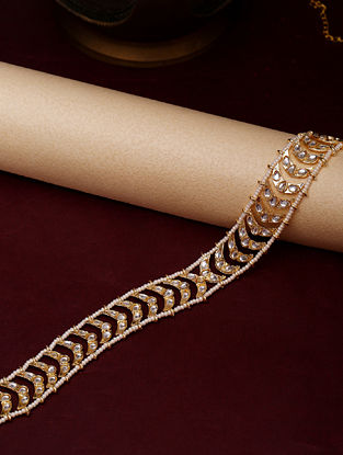 Gold Tone Kundan Hairband Cum Necklace