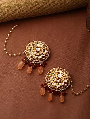 Peach Gold Tone Kundan Earrings With Ear Chains