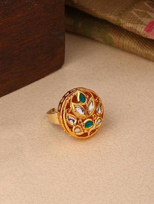 Green Gold Tone Kundan Adjustable Ring