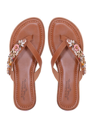 Brown Handcrafted Genuine Leather Flats