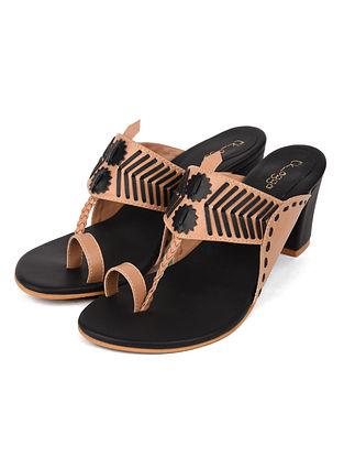 Beige Black Handcrafted Leather Kolhapuri Block Heels
