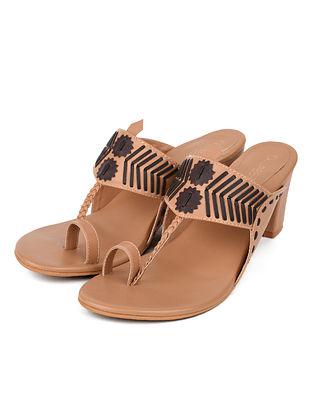 Black Beige Handcrafted Leather Kolhapuri Block Heels