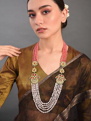 Peach Pink Gold Tone Kundan Beaded Necklace