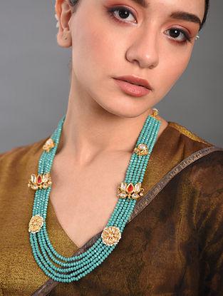 Turquoise Gold Tone Kundan Beaded Necklace