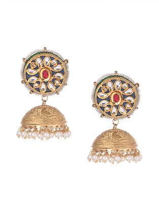 Blue Pink Gold Tone Kundan Enameled Jhumki Earrings