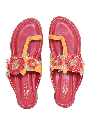 Yellow Red Handcrafted Genuine Leather Kolhapuri Flats