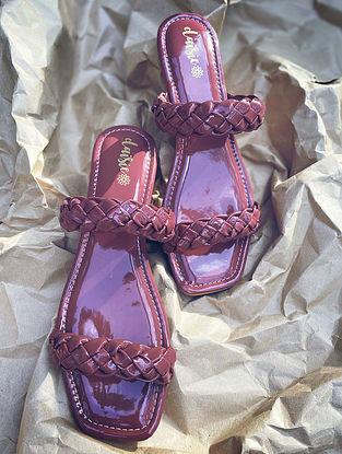 Purple Handcrafted Vegan Leather Flats