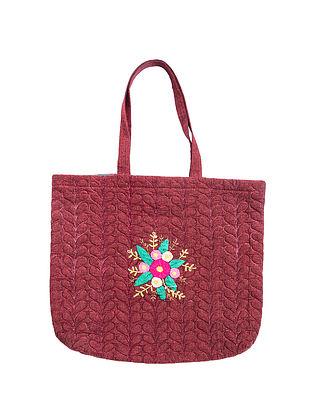 Maroon Hand Embroidered Khadi Tote Bag