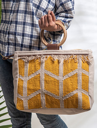 Yellow White Handwoven Cotton Tote Bag