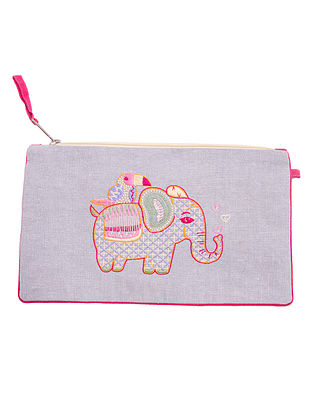 Grey Hand Embroidered Khadi Pouch