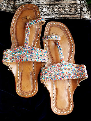 Multicolored Handcrafted Beaded Leather Kolhapuri Flats