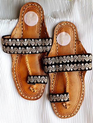 Black Handcrafted Velvet Leather Kolhapuri Flats