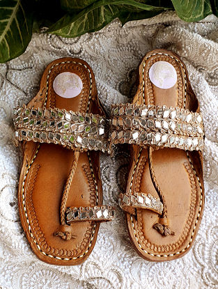 Gold Handcrafted Leather Kolhapuri Flats with Mirrors