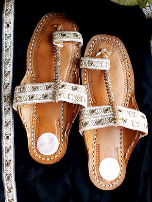 White Handcrafted Crochet Leather Kolhapuri Flats with Mirrors
