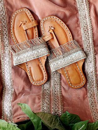 Pastel Green Handcrafted Silk Leather Kolhapuri Flats