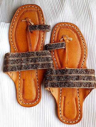 Bronze Handcrafted Beaded Silk Leather Kolhapuri Flats